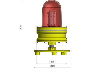 DWT-OBS-ATEX Explosionsgeschütztes Einzelhindernisfeuer Abmessungen