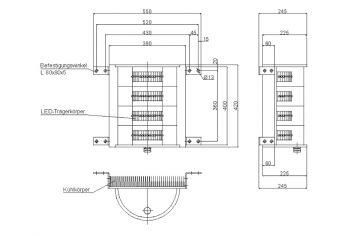 DWT-OBS-LED-AOL-304-2012-B Hochleistungs-Hindernisfeuer Abmessungen