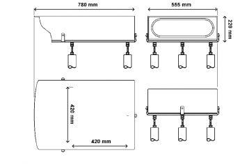 DWT-PAPI Präzisions-Gleitpfadbefeuerungssystem Abmessungen