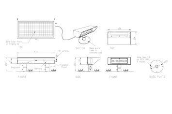DeWiTec Solar LED Flutlicht Abmessungen
